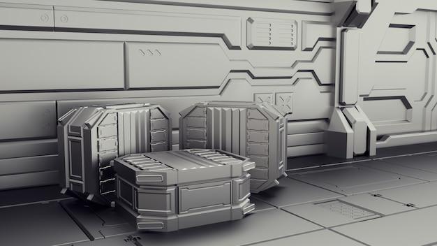 Magazyn science fiction, w którym przechowywane są kontenery. laboratorium na statku kosmicznym.