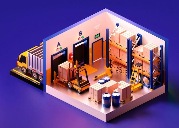 Magazyn w składzie izometrycznym, w tym wózki widłowe, półki z towarami. ilustracja 3dd