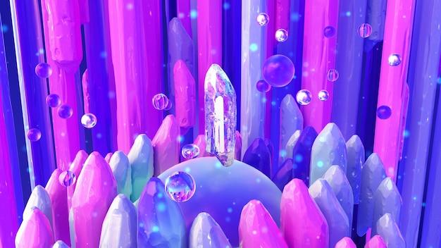 Magia krystalicznie purpurowy streszczenie szk? o 3d ilustracji renderowanie 3d