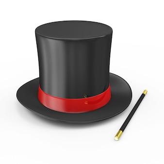 Magiczny kapelusz z czerwoną wstążką i różdżką maga na białym tle