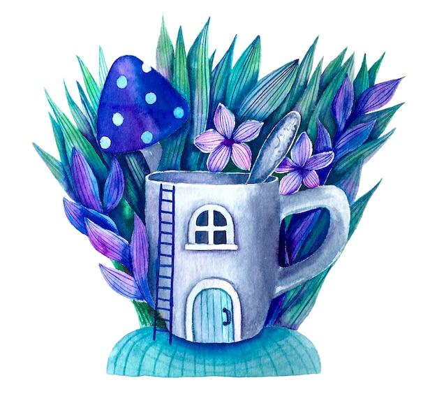 Magiczny kubek z łyżeczką i roślinami ładny akwarela ilustracja