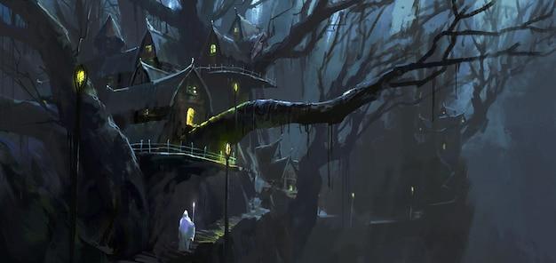 Magik chodzi między ilustracją przedstawiającą magiczne domki na drzewie.