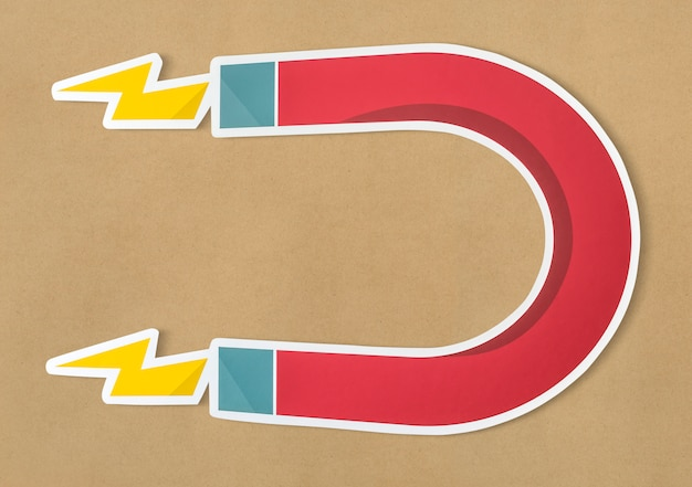 Magnes podkowa magnetyczna ikona odizolowywająca