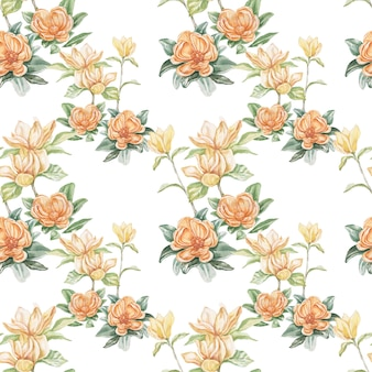 Magnolia kwiat kwiaty jasne egzotyczne akwarela ręcznie rysowane druk bezszwowe zestaw natura kwitnące gałęzie i liście flora botanika