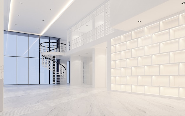 Mainhall podwójnej przestrzeni wnętrze chińsko-portugalski styl z marmurową podłoga 3d renderingiem