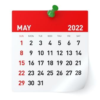 Maj 2022 - kalendarz. na białym tle. ilustracja 3d