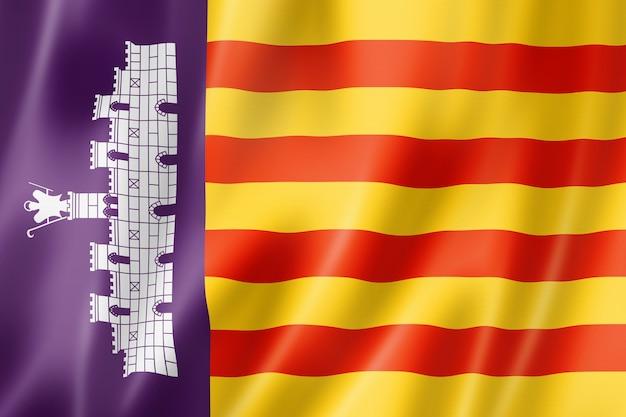 Majorka, flaga baleary, hiszpania macha kolekcja transparentu. ilustracja 3d