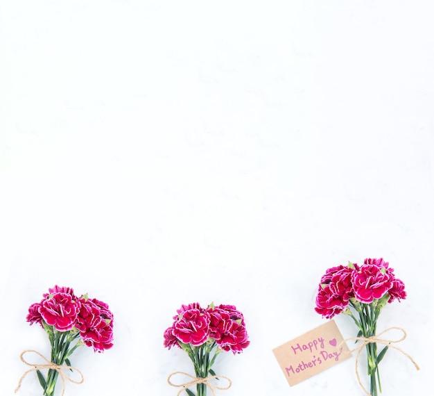 Majowa fotografia koncepcyjna na dzień matki - piękne kwitnące goździki związane kokardą z kartą tekstową kraft izolowaną na jasnym nowoczesnym stole, kopia przestrzeń, płaski układ, widok z góry, makieta