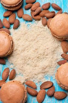 Mąka migdałowa, makaronik, migdał (widok z góry)
