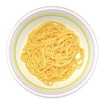 Makaron spaghetti na białym tle nad białym