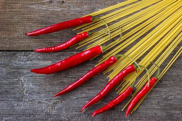 Makaron spaghetti z papryczkami chili