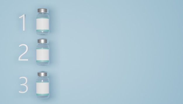 Makieta 3 butelek szczepionek z białą etykietą umieszczoną w rankingu na niebieskim tle. renderowania 3d