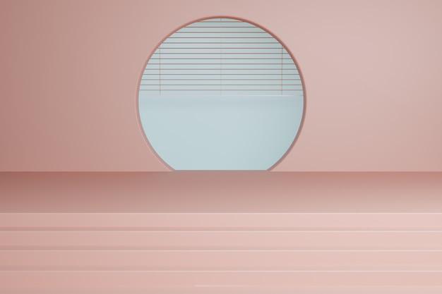 Makieta abstrakcyjnego koloru pastelowego dla produktu z okrągłym oknem. renderowania 3d