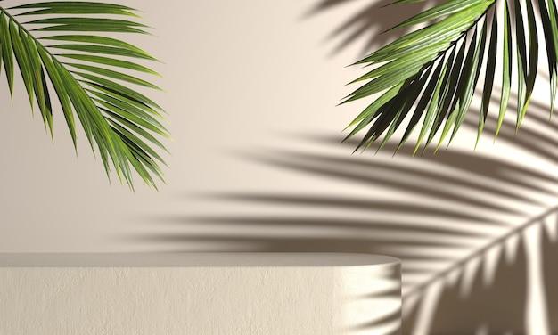 Makieta betonowej sceny na obecny produkt z liściem palmowym i lekkim cieniem przeciwsłonecznym na beżu