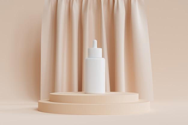 Makieta biała butelka z zakraplaczem z serum do produktów kosmetycznych lub reklama na beżowym podium lub cokole z zasłonami, abstrakcyjny render 3d