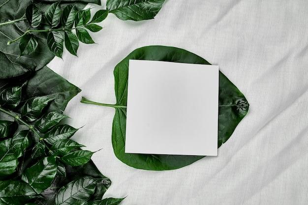 Makieta białej pustej karty na tle tekstylnym z zielonymi liśćmi po bokach, układ płaski, miejsce na tekst, widok z góry, baner produktu, koncepcja natury.