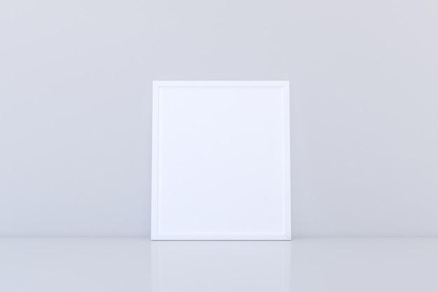 Makieta białej pustej ramki na podłodze