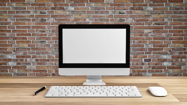 Makieta biały ekran komputera z graficznym obszarem roboczym.