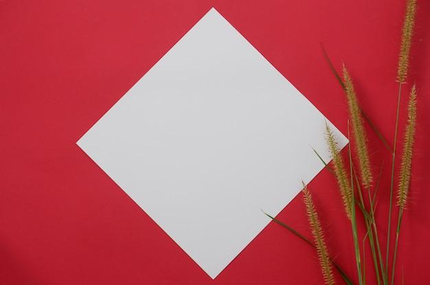 Makieta biały papier z miejscem na tekst lub obraz na czerwonym tle i kwiat