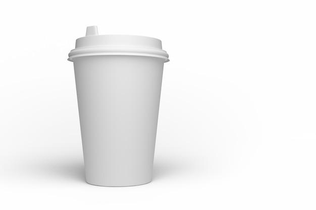 Makieta biały papierowy kubek do projektowania. renderowania 3d.