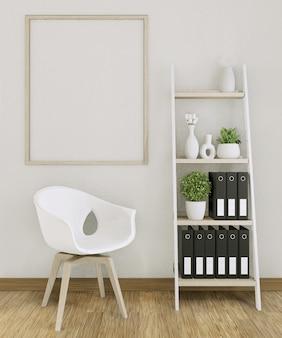 Makieta biura rama plakatowa z dekoracją w pokoju makieta projektu. renderowania 3d