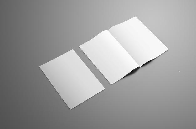Makieta biznesowa z dwiema broszurami a4 a5 bifold na szarym tle