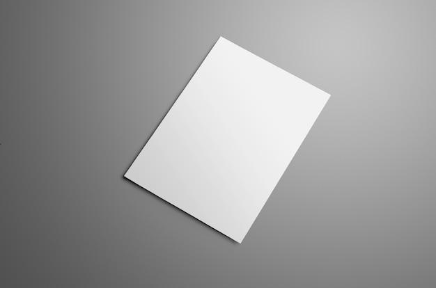 Makieta biznesowa z jedną pustą broszurą a4, (a5) bi-fold z realistycznymi cieniami na białym tle na szarym tle. broszura przedstawia tylną okładkę. szablon może służyć do projektowania.