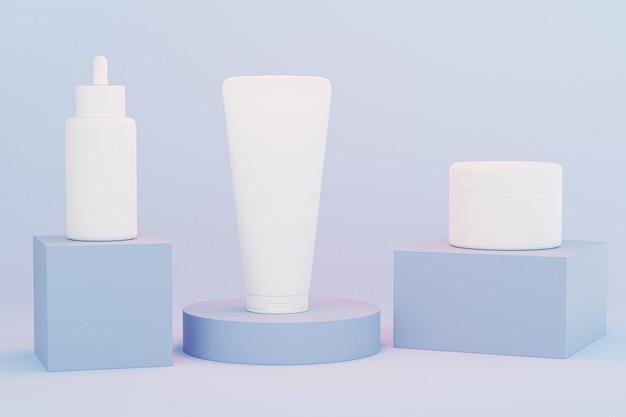 Makieta butelka z zakraplaczem, tubka z balsamem i słoik z kremem do produktów kosmetycznych lub reklamy na niebieskich podium, renderowanie 3d ilustracji