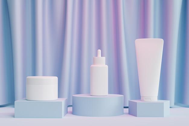 Makieta butelka z zakraplaczem, tubka z balsamem i słoik z kremem do produktów kosmetycznych lub reklamy na niebieskich podium z różowym światłem, renderowanie 3d ilustracji