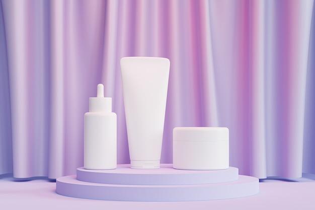 Makieta butelka z zakraplaczem, tubka z balsamem i słoik z kremem do produktów kosmetycznych lub reklamy na niebieskim podium z różowym światłem, renderowanie 3d ilustracji