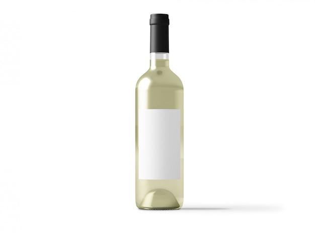Makieta butelki białego wina na białym tle
