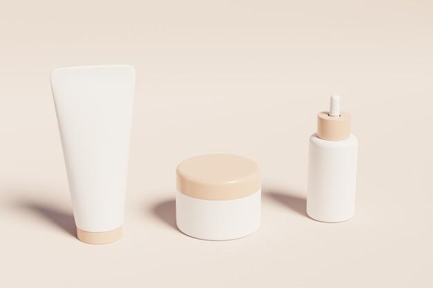 Makieta butelki, tubki i słoika na produkty kosmetyczne na beżowej powierzchni