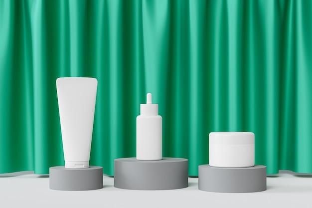 Makieta butelki z zakraplaczem, tubka balsamu i słoik kremu na szarych podium z zielonymi zasłonami