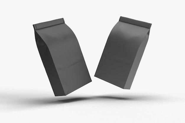 Makieta czarnego opakowania opakowania na przekąski na białym tle