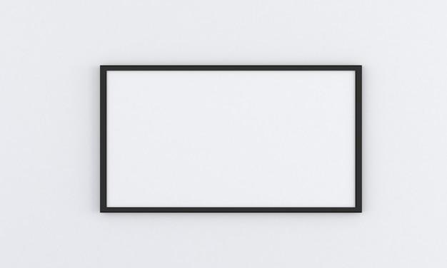 Makieta czarnej pustej ramki na szarej ścianie