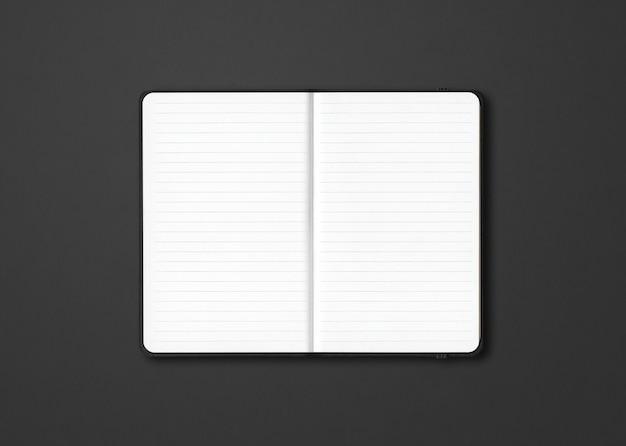 Makieta czarny notatnik w linie na białym tle