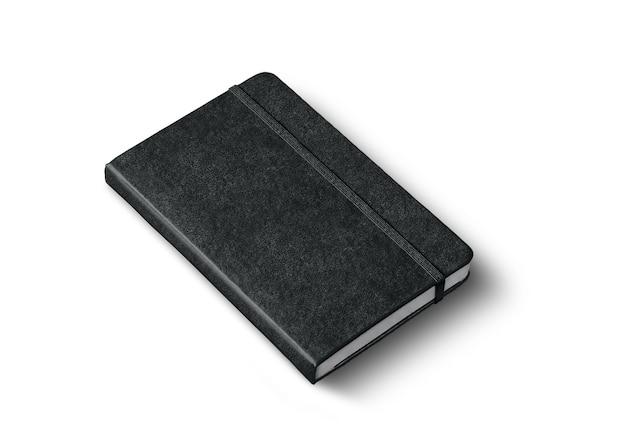 Makieta czarny notatnik zamknięty na białym tle na białej powierzchni