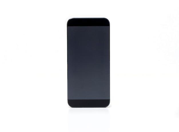 Makieta czarny telefon komórkowy na białym tle