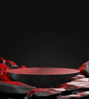 Makieta czarny wyświetlacz podium do prezentacji produktów kosmetycznych, renderowanie 3d.