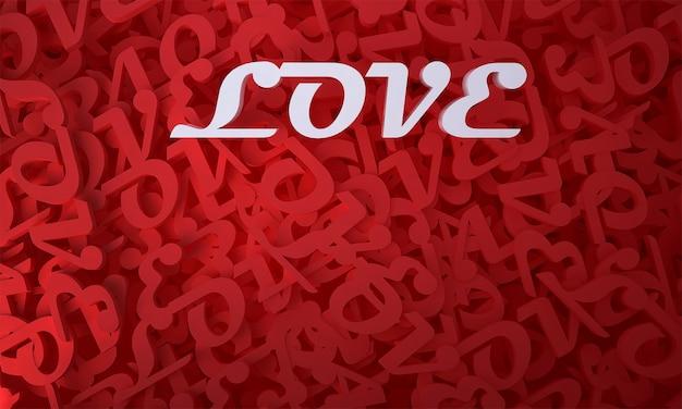 Makieta, dekoracja i tekst miłości i czerwone tło
