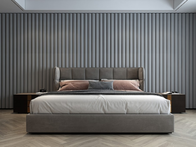 Makieta dekoracji wnętrz nowoczesnej, przytulnej sypialni i białej ściany w tle
