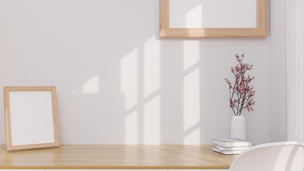 Makieta do montażu na minimalistycznej drewnianej ramie plakatowej na biurku roboczym makieta na stole i ścianie 3d