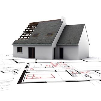 Makieta domu na planach z czerwonymi notatkami i korektami