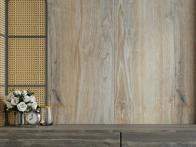 Makieta drewniana ściana z roślinami ozdobnymi i elementem dekoracyjnym na szafce, renderowanie 3d