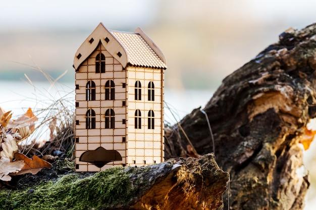 Makieta drewnianego domu nad jeziorem. obudowa w przyrodzie