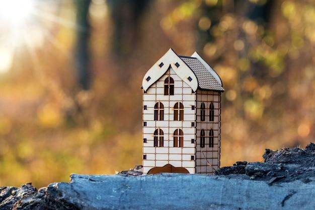 Makieta drewnianego domu w lesie przy słonecznej pogodzie. obudowa w przyrodzie