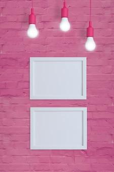 Makieta dwóch ramek na ścianie z różowej cegły z żarówkami. wstaw swój tekst lub obraz. format pionowy