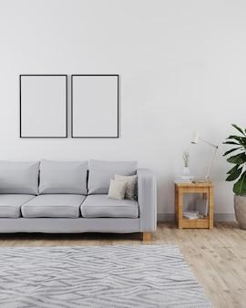 Makieta dwóch ramek plakatowych w nowoczesnym i minimalistycznym wnętrzu salonu z sofą, białą ścianą i drewnianą podłogą z szarym dywanem