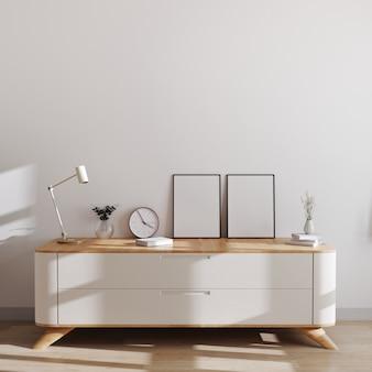 Makieta dwóch ramek plakatowych w nowoczesnym wnętrzu w stylu skandynawskim na minimalistycznej komodzie z wystrojem. makieta ramki plakatu lub obrazu, renderowania 3d