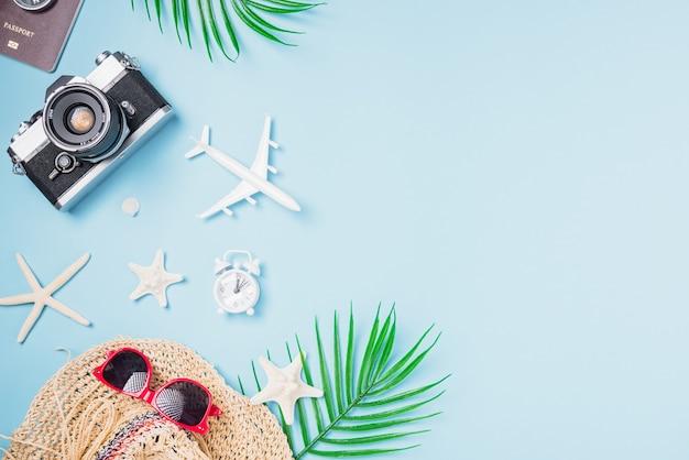 Makieta Filmów Fotograficznych Retro, Samolot, Rozgwiazda, Muszle, Kapelusz Podróżnika Tropikalne Akcesoria Premium Zdjęcia